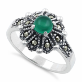 Sterling Silver Round Green Agate Flower Marcasite Ring