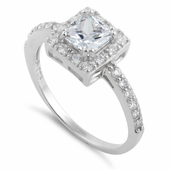 Sterling Silver Square Halo Engagement Ring