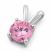 Sterling Silver Round Light Pink CZ Pendant