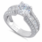 Sterling Silver Round & Princess Cut Clear CZ Ring