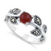Sterling Silver Round Red Agate Leaves Marcasite Ring