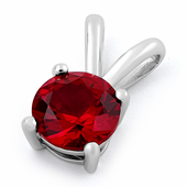 Sterling Silver Round Ruby CZ Pendant