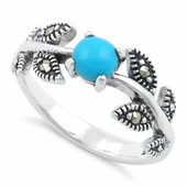 Sterling Silver Round Synthetic Turquoise Leaves Marcasite Ring