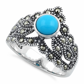 Sterling Silver Round Synthetic Turquoise Tiara Marcasite Ring
