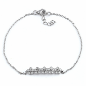 Sterling Silver Row of Flowers Clear CZ Bracelet
