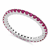 Sterling Silver Ruby Eternity CZ Ring