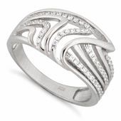 Sterling Silver Shark Fin Pave CZ Ring