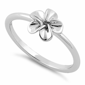 Sterling Silver Single Plumeria Flower Ring