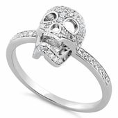 Sterling Silver Skull CZ Ring