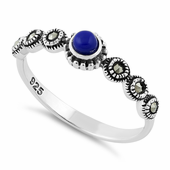 Sterling Silver Small Round Blue Lapis Marcasite Ring