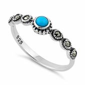 Sterling Silver Small Round Blue Turquoise Marcasite Ring