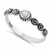 Sterling Silver Small Round Mother of Pearl Marcasite Ring