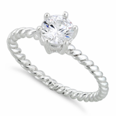 Sterling Silver Solitaire CZ Rope Ring