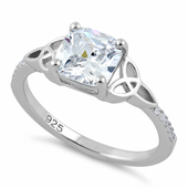 Sterling Silver Square Clear Celtic CZ Ring