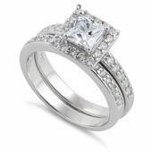 Sterling Silver Square Clear CZ Double Ring