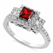 Sterling Silver Square Garnet CZ Ring