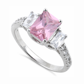 Sterling Silver Rectangular Pink CZ Ring