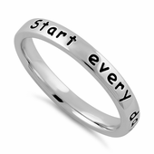 """Sterling Silver """"Start every day with a smile"""" Ring"""
