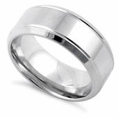 Sterling Silver Striped Wedding Band Ring 8mm