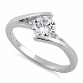 Sterling Silver Stuck In Between Clear CZ Ring