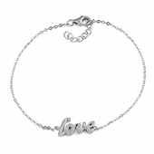 Sterling Silver Stylish 'Love' Clear CZ Bracelet