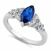 Sterling Silver Stylish Marquise & Round Cut Clear & Blue Spinel CZ Ring