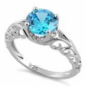 Sterling Silver Swirl Design Aqua and Clear CZ Ring