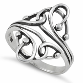 Sterling Silver Swirl Dots Ring