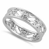 Sterling Silver Swirl Floral Band Ring
