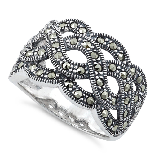 sterling silver swirl marcasite ring