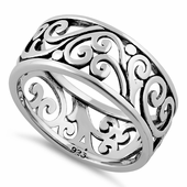Sterling Silver Swirls Band Ring