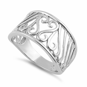 Sterling Silver Swirly Heart Ring