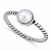 Sterling Silver Synthetic Pearl Rope Ring