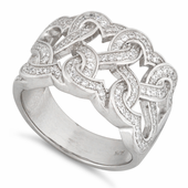 Sterling Silver Tangled Hearts Pave CZ Ring