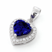 Sterling Silver Tanzanite Small Heart CZ Pendant