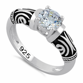Sterling Silver Tribal Round Cut Clear CZ Ring