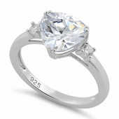 Sterling Silver Trillion Cut Clear CZ Ring