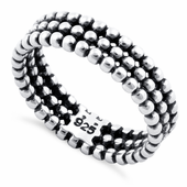 Sterling Silver Triple Bead Eternity Ring