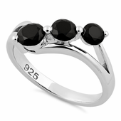 Sterling Silver Triple Black Stone CZ Ring