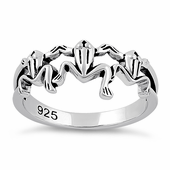 Sterling Silver Triple Frogs Ring