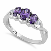 Sterling Silver Triple Oval Amethyst CZ Ring