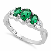 Sterling Silver Triple Oval Emerald CZ Ring