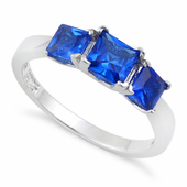 Sterling Silver Triple Square Blue Spinel CZ Ring