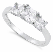 Sterling Silver Triple Square Clear CZ Ring