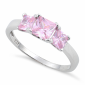 Sterling Silver Triple Square Pink CZ Ring