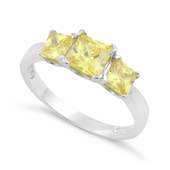 Sterling Silver Triple Square Yellow CZ Ring