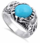 Sterling Silver Synthetic Turquoise Dragon Ring