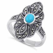 Sterling Silver Synthetic Turquoise Eye Marcasite Ring