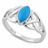 Sterling Silver Synthetic Turquoise Marquise Celtic Ring