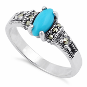 Sterling Silver Synthetic Turquoise Marquise Marcasite Ring
